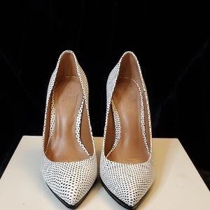 Aldo leather black and white snakeskin heels